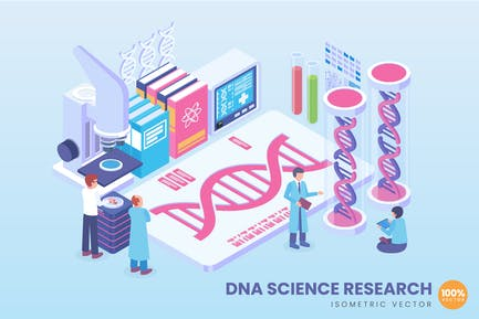 Isometric DNA Science Research Concept