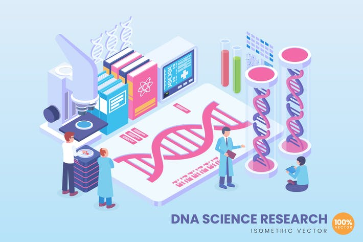 Thumbnail for Isometric DNA Science Research Concept