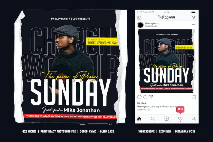 Thumbnail for Church Online Event Square Flyer & Instagram Post