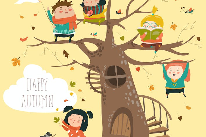 Cover Image For Happy children sitting on tree in autumn park.