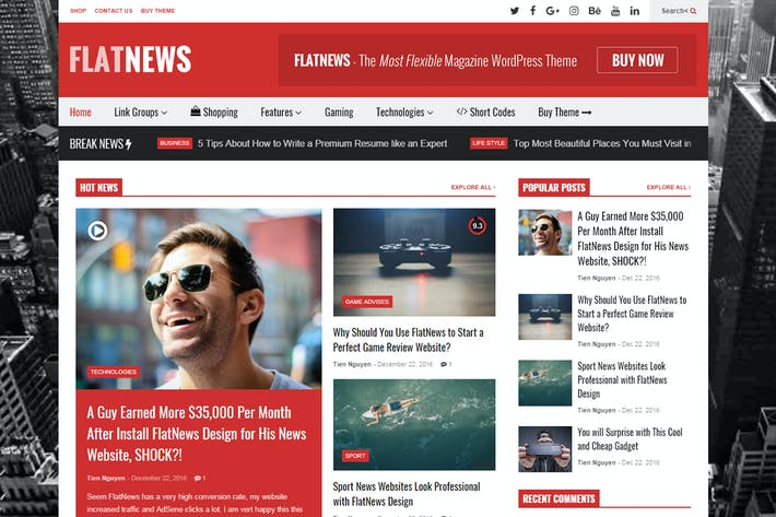 Thumbnail for FlatNews – Responsive Magazine WordPress Theme