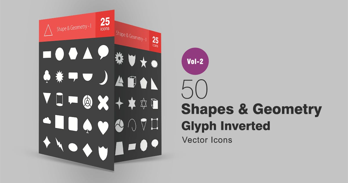 50 Shapes & Geometry Glyph Inverted Icons by IconBunny