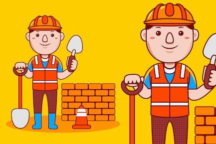 Builder Profession Cartoon Vector