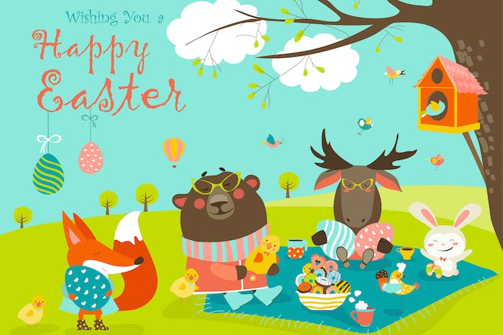 Cartoon animals celebrating Easter in the forest