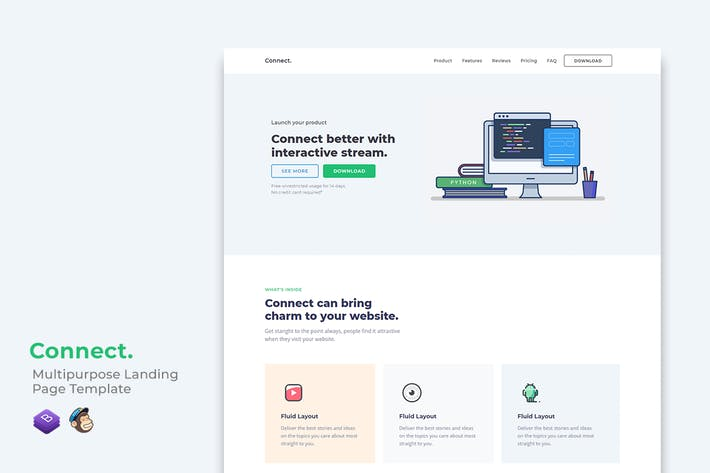 Thumbnail for Connect Multipurpose Landing Page Template
