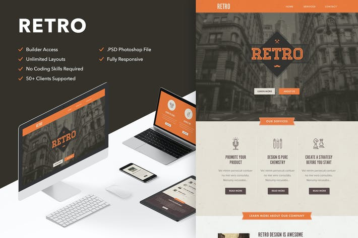 Cover Image For Retro - Responsive Email + Themebuilder Access