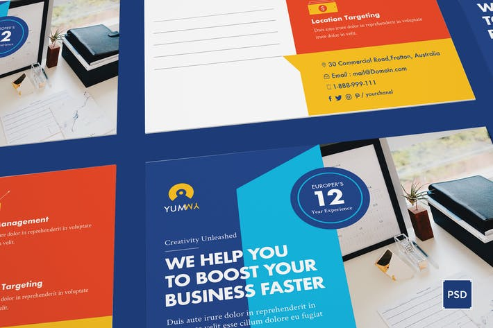 Thumbnail for Fresh Startup Business Postcard PSD Template