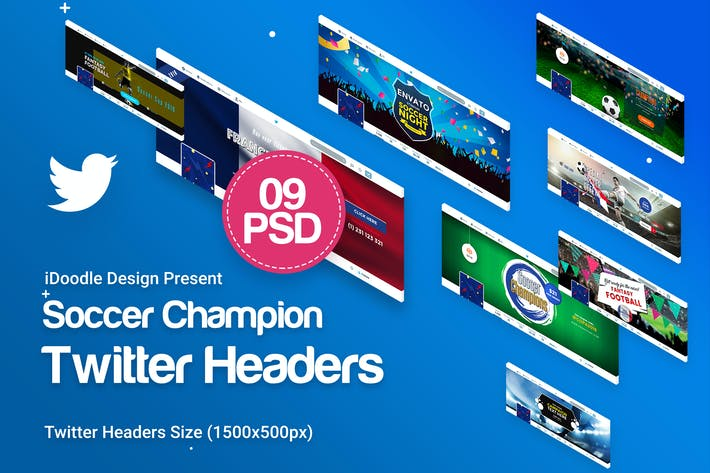 Thumbnail for Soccer Twitter Headers - 09 PSD