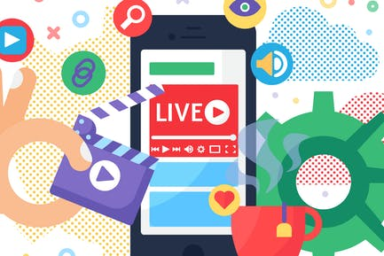 Web Live Stream Producing On Gadget Illustration