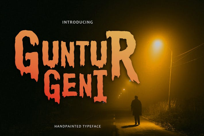 Thumbnail for Guntur Geni - Handpainted Typeface