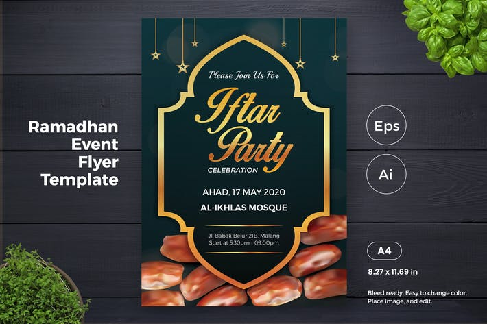 Thumbnail for Ramadan Kareem Iftar Flyer Template (GI)