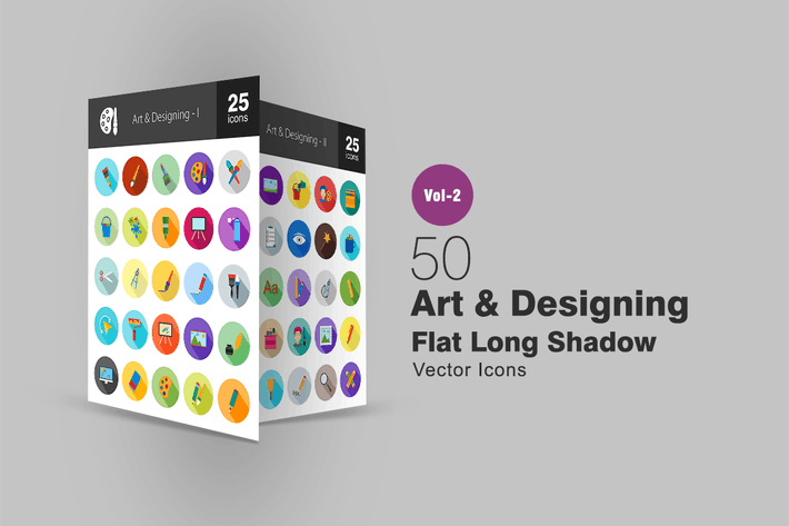 Thumbnail for 50 Art & Designing Flat Long Shadow Icons