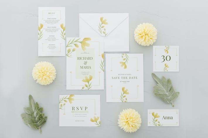 Thumbnail for Gelber Blumengarten - Hochzeitseinladungen