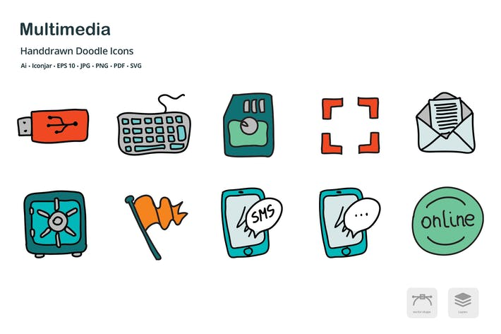 Thumbnail for Multimedia Hand Drawn Doodle Icons