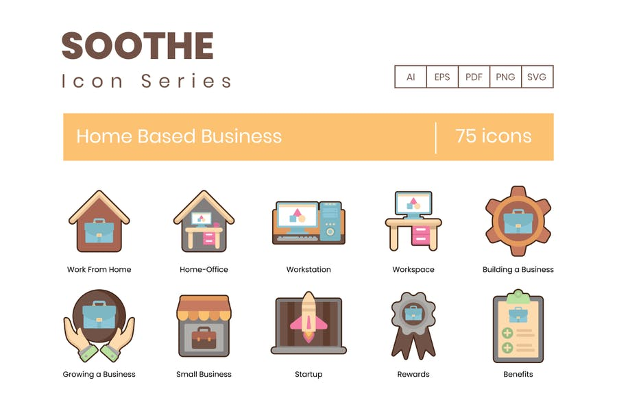 75 Home-Based Business-Icons - Soothe Serie