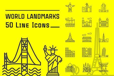 World Landmarks Line Icons