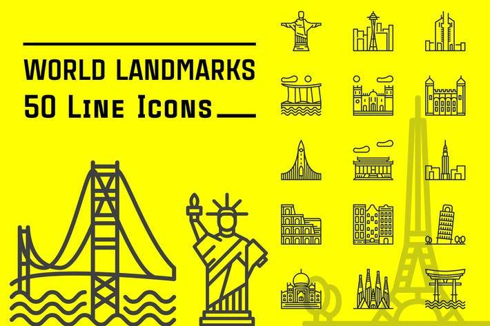 Thumbnail for World Landmarks Line Icons