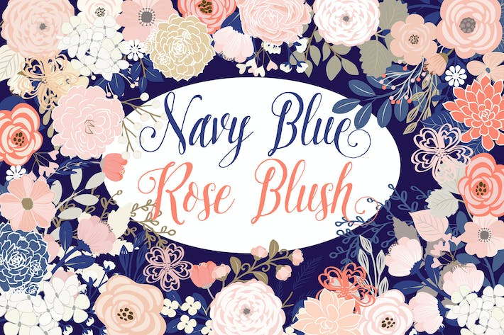Thumbnail for Vector Navy Blue Rose Blush floral elements