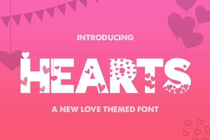 Thumbnail for Hearts Silhouette Font