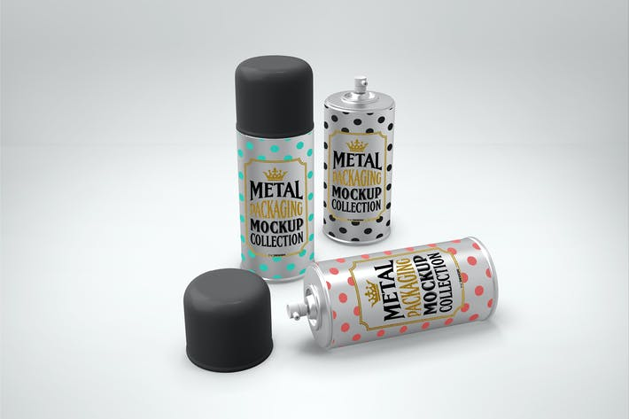 Metal Spray Cans Packaging Mockup