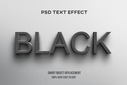 3d black wood on wall text effect
