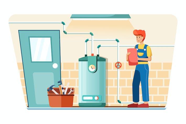 Thumbnail for Klempner stellen die Temperatur ein