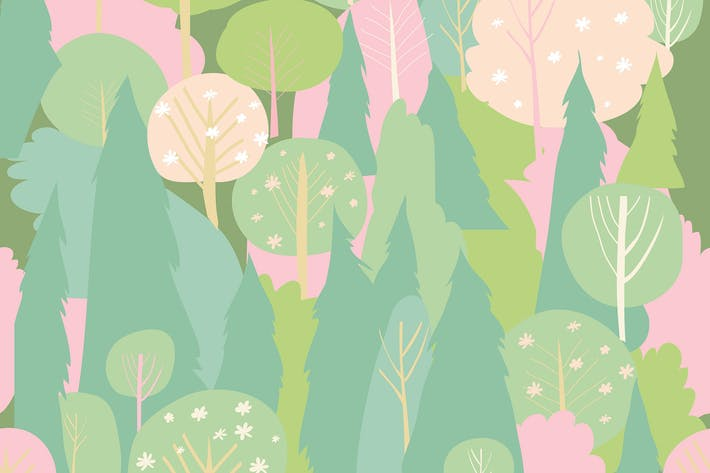 Thumbnail for Seamless vector blossom forest pattern. Spring bac