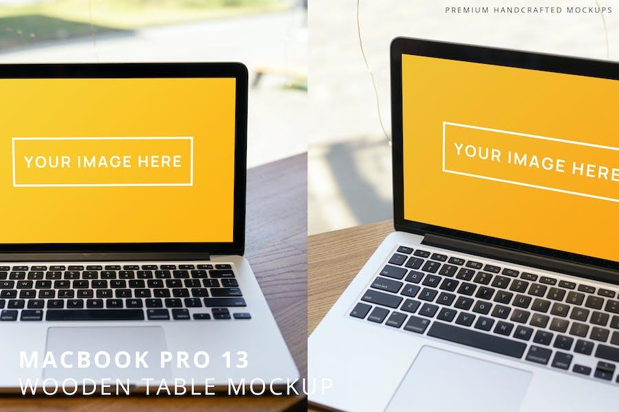 MacBook Pro 13 Wooden Table Mockup