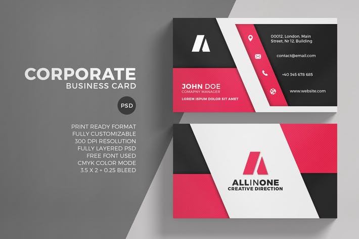 6685 print templates compatible with adobe photoshop page 3 modern corporate business card reheart Choice Image