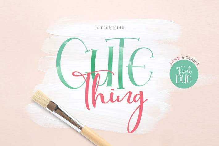 Thumbnail for Cute Thing Font Duo