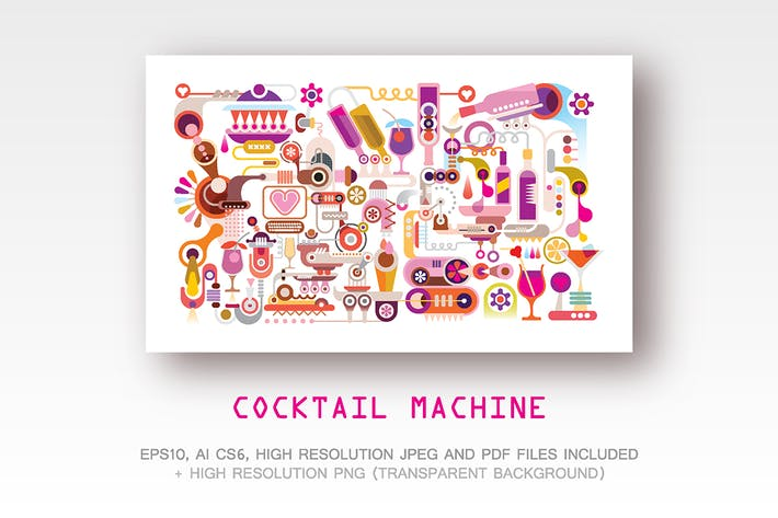 Thumbnail for Cocktail Machine Vector Illustration (2 options)