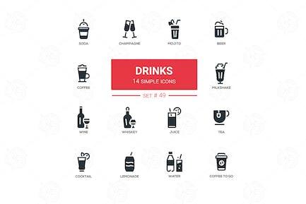 Alkohol und alkoholfreie Getränke - Linie Design Icons Set