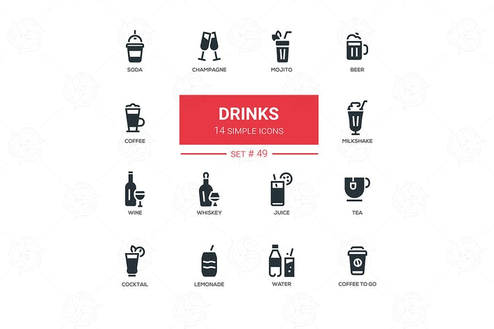 Thumbnail for Alcohol and soft drinks - line design icons set