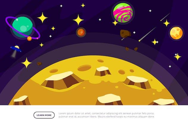 Moon - Space Illustration Scene