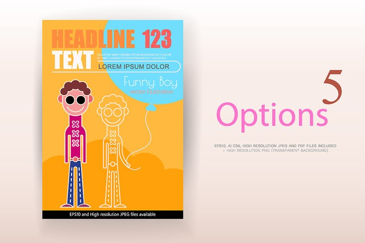 Thumbnail for 5 options of Funny Boy vector poster design