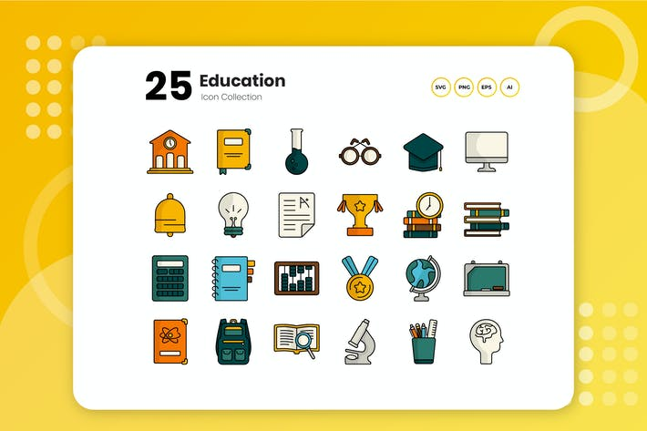 Thumbnail for 25 Education Flat Icon Set