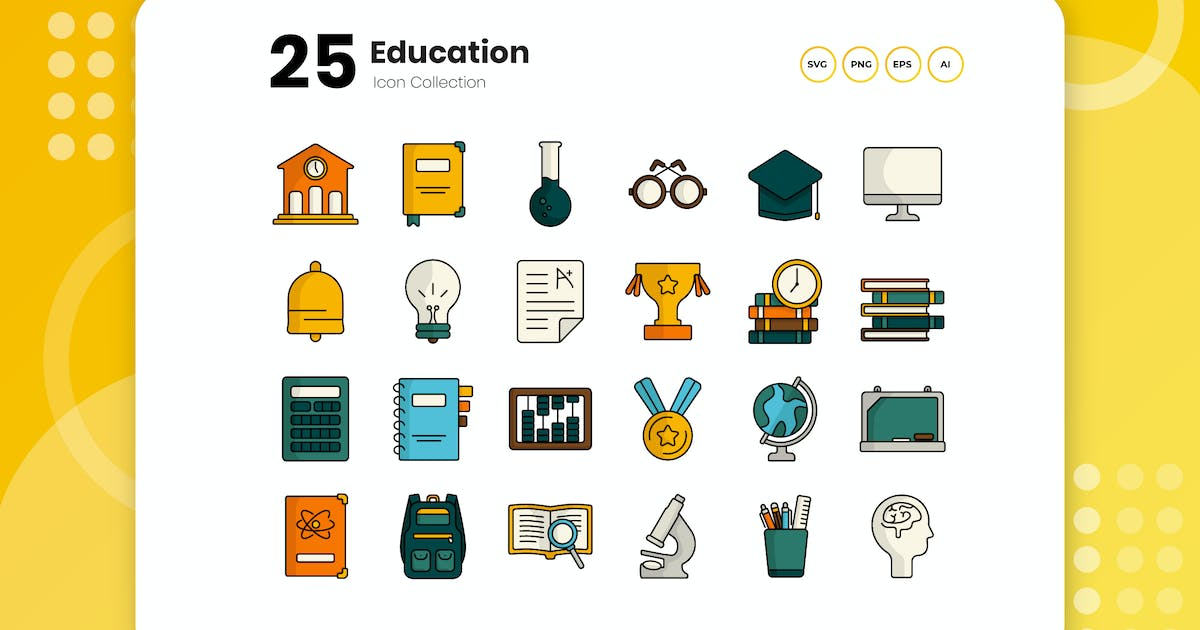 Download 25 Education Flat Icon Set by vectorclans
