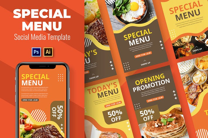 Cover Image For Menu Social Media Template