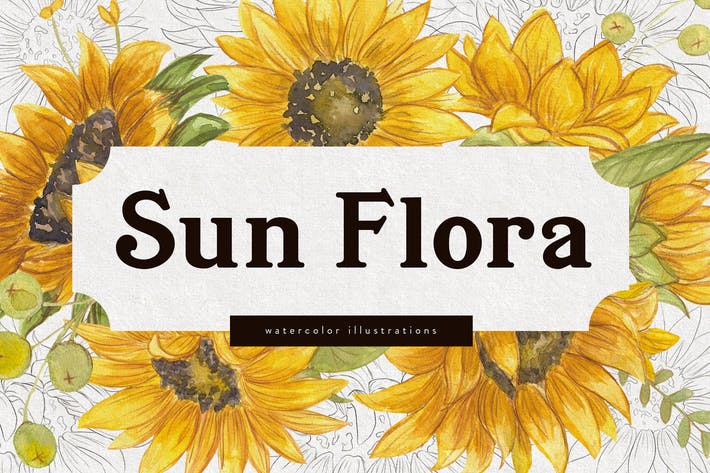 Thumbnail for Sunflower Watercolor and Vector Illustrations