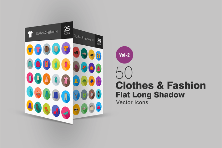 Thumbnail for 50 Clothes & Fashion Flat Long Shadow Icons