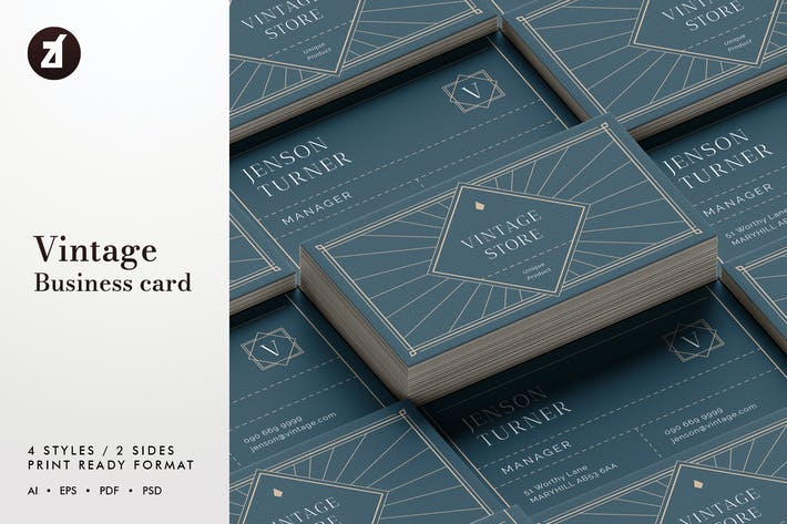 Thumbnail for Vintage - Business card template
