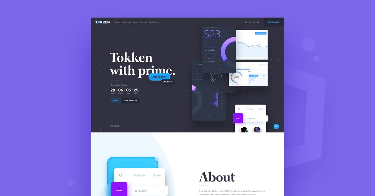 Download TOKKEN - Cryptocurrency ICO Website by Unknow