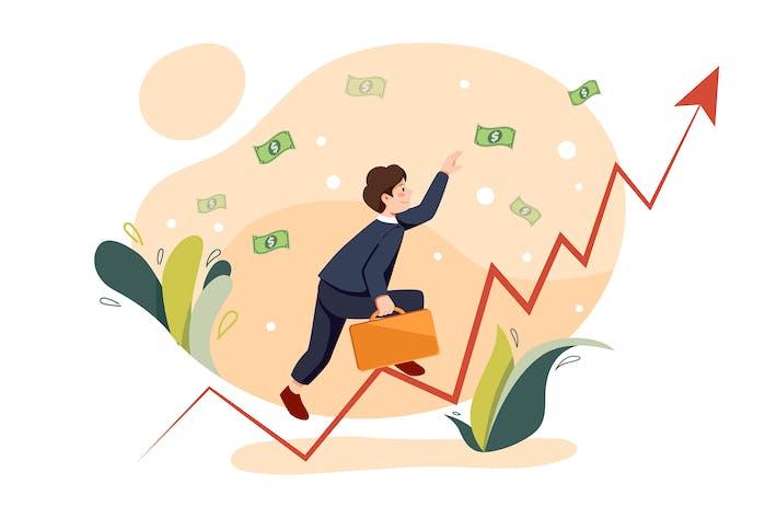 Thumbnail for Geschäftsmann, der Geld fängt, klettert nach oben Diagramm