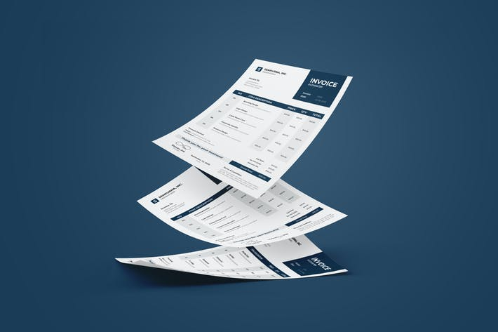 Thumbnail for Clean Invoice  Design with Navy Blue Color