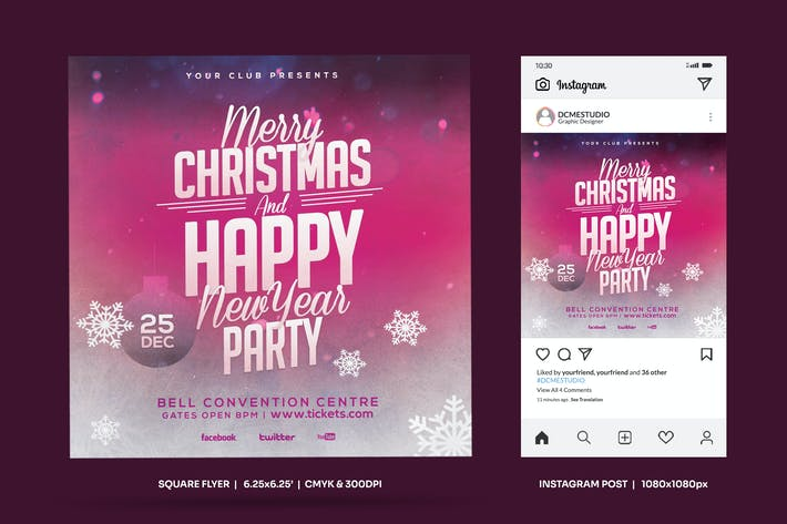 Thumbnail for Christmas Party Square Flyer & Insta Post