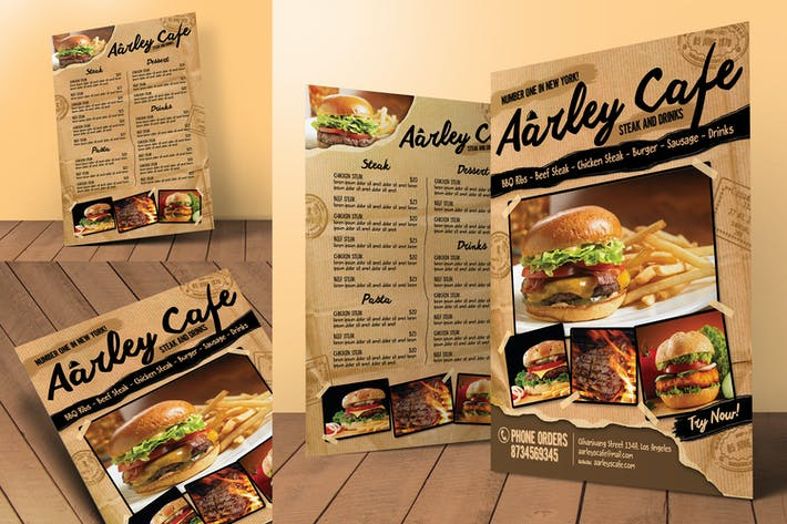 Cover Image For Cafe Menu Flyer + Business Card