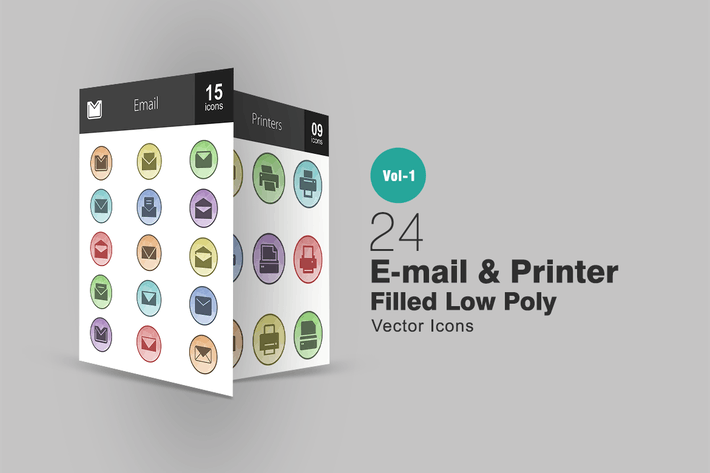 Thumbnail for 26 Email & Printer Filled Low Poly Icons