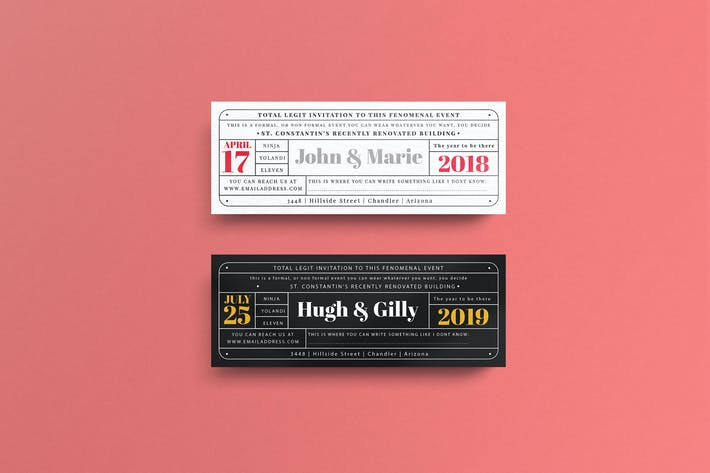 Cover Image For Vintage Invitation Ticket Template