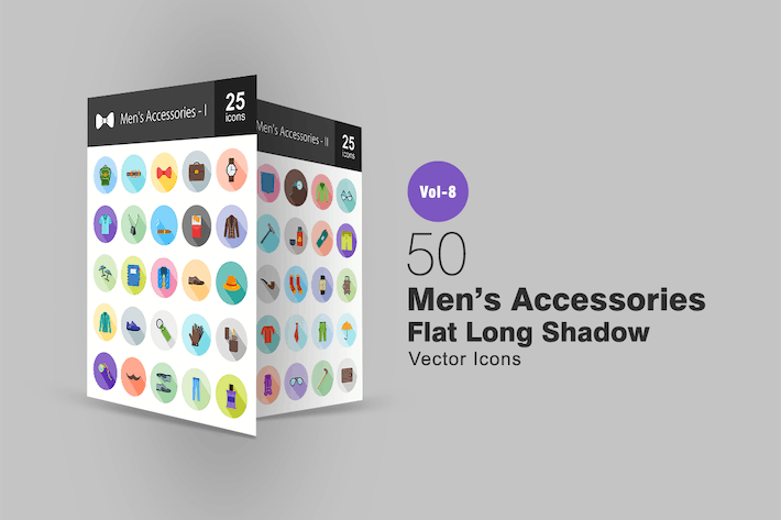 Thumbnail for 50 Men's Accessories Flat Shadowed Icons