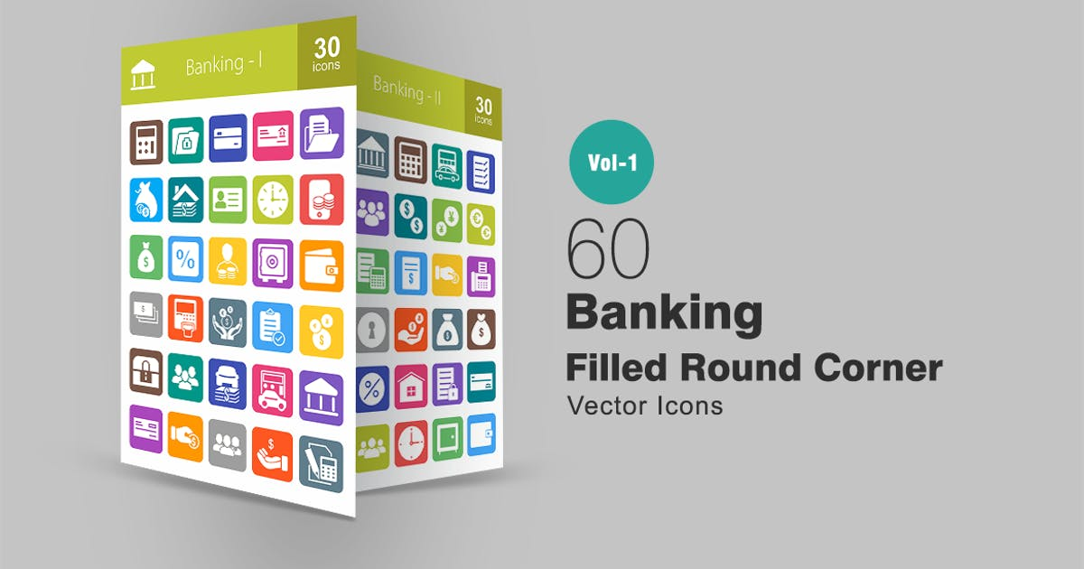 Download 60 Banking Filled Round Corner Icons by IconBunny
